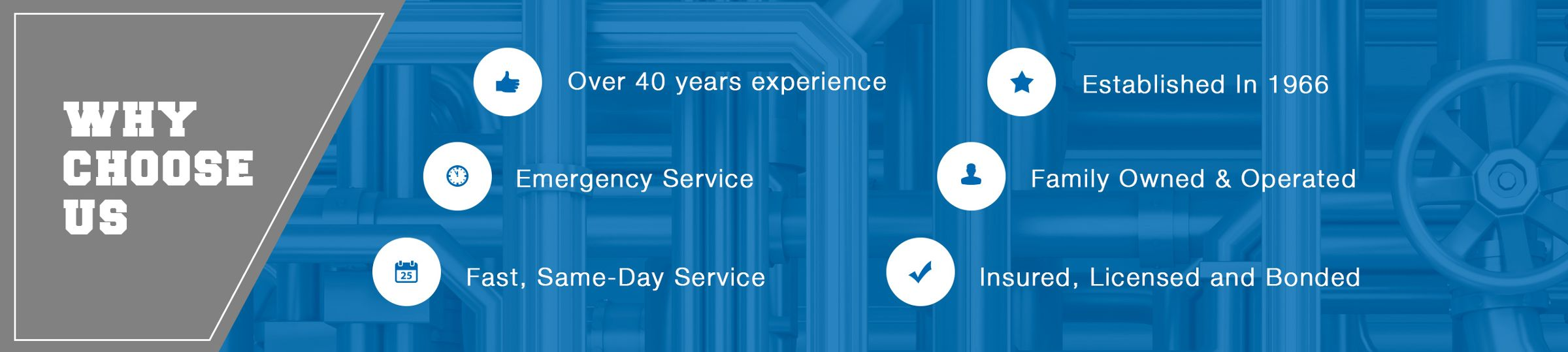 Why Choose Us - Established in 1966, Emergency Service, Fast, Same-Day Service, Insured, Licensed and Bonded.